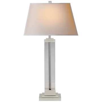 Wright Table Lamp in Polished Nickel and Glass with Natural Paper Shade
