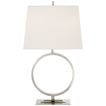 Simone Medium Table Lamp in Polished Nickel with Linen Shade