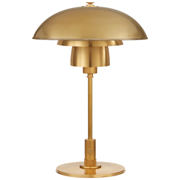 Whitman Desk Lamp in Hand-Rubbed Antique Brass with Hand-Rubbed Antique Brass Shade