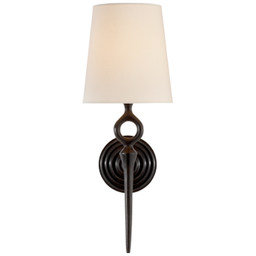 Bristol Single Sconce in Aged Iron with Linen Shade