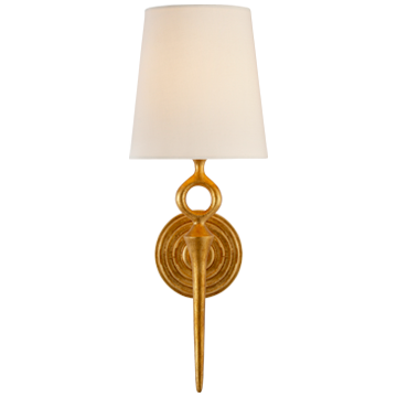 Bristol Single Sconce in Gilded with Linen Shade