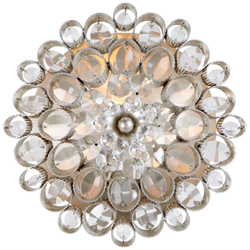 Claret Round Sconce in Burnished Silver Leaf with Crystal