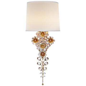 Claret Tail Sconce in Gild with Linen Shade
