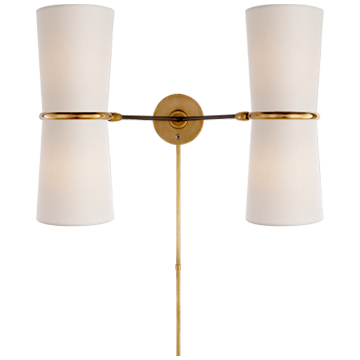 Clarkson Double Sconce in Black and Hand-Rubbed Antique Brass Accents with Linen Shade
