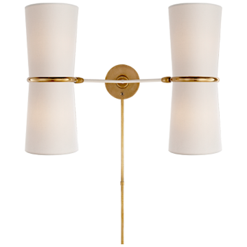 Clarkson Double Sconce in White and Hand-Rubbed Antique Brass Accents with Linen Shade