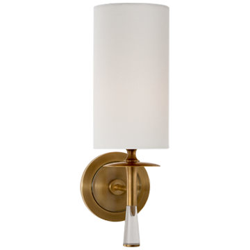 Drunmore Single Sconce in Hand-Rubbed Antique Brass and Crystal with Linen Shade