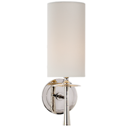 Drunmore Single Sconce in Polished Nickel with Linen Shade