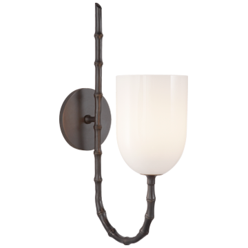 Edgemere Wall Light in Bronze with White Glass