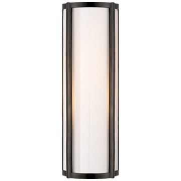 Basil Small Linear Sconce in Gun Metal with White Glass