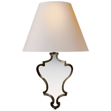 Madeline Small Mirrored Sconce in Bronze with Natural Paper Shade