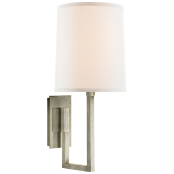 Aspect Library Sconce in Pewter with Ivory Linen Shade
