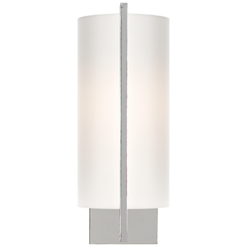 Framework Sconce in Polished Nickel with Silk Shade
