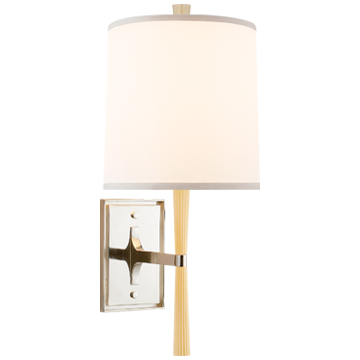 Refined Rib Sconce in Ivory Resin and Soft Silver with Silk Shade