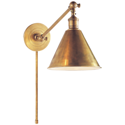 Boston Functional Single Arm Library Light in Hand-Rubbed Antique Brass