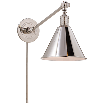 Boston Functional Single Arm Library Light in Polished Nickel