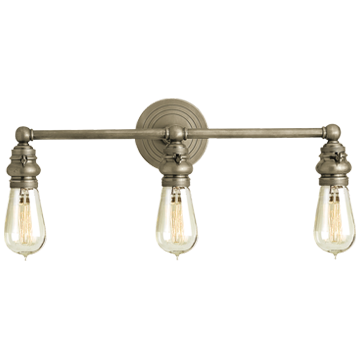 Boston Functional Triple Light in Antique Nickel