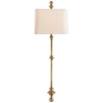 Cawdor Stanchion Wall Light in Antique-Burnished Brass with Natural Paper Shade