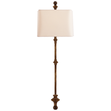 Cawdor Stanchion Wall Light in Gilded Iron with Natural Paper Shade