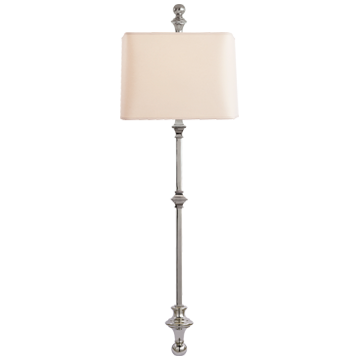 Cawdor Stanchion Wall Light in Polished Nickel with Natural Paper Shade