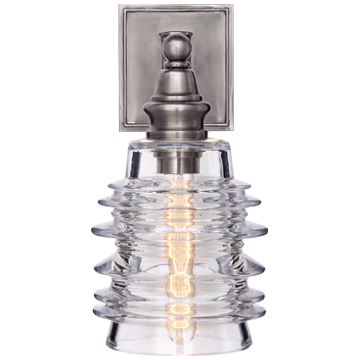 Covington Sconce in Antique Nickel with Clear Ribbed Wide Glass