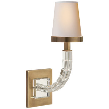 Cube Sconce in Antique-Burnished Brass and Crystal with Natural Paper Shade