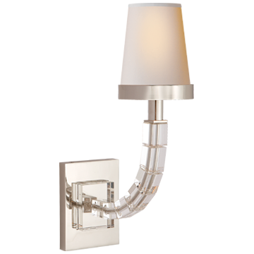 Cube Sconce in Polished Nickel and Crystal with Natural Paper Shade