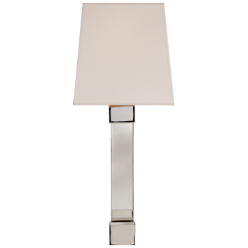 Edgar Medium Sconce in Polished Nickel and Crystal with Silk Shade