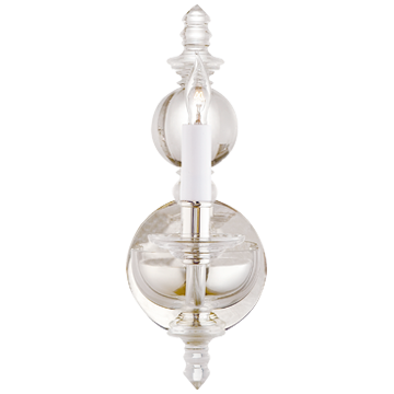 George II Single Sconce in Crystal with Polished Nickel