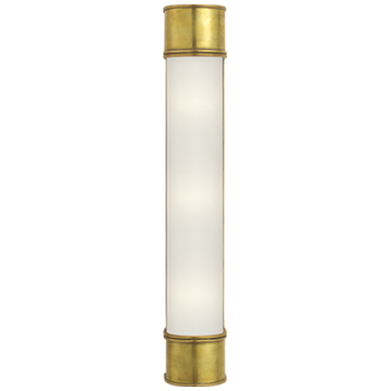 """Oxford 24"""" Bath Sconce in Antique-Burnished Brass with Frosted Glass"""