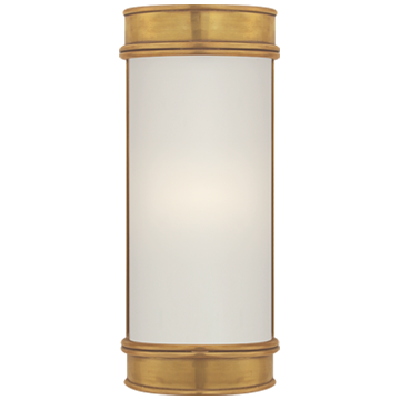 "Oxford 8"" Bath Sconce in Antique-Burnished Brass with Frosted Glass"