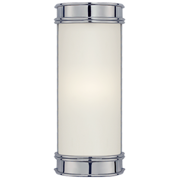 "Oxford 8"" Bath Sconce in Chrome with Frosted Glass"