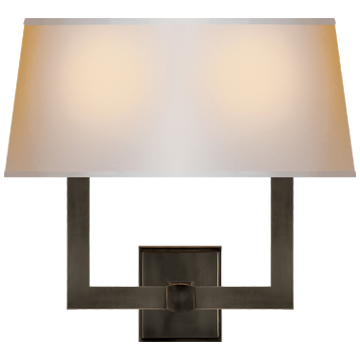 Square Tube Double Sconce in Bronze with Natural Paper Single Shade