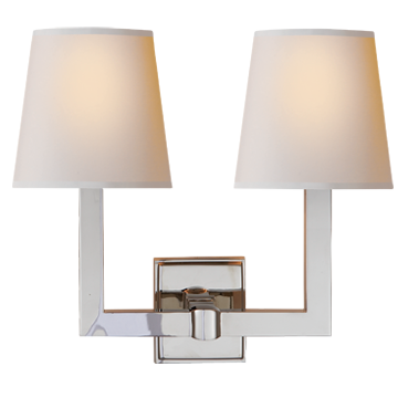 Square Tube Double Sconce in Polished Nickel with Natural Paper Shades