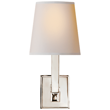 Square Tube Single Sconce in Polished Nickel with Natural Paper Shade
