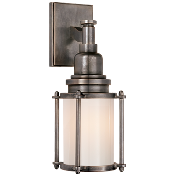 Stanway Sconce in Bronze with White Glass