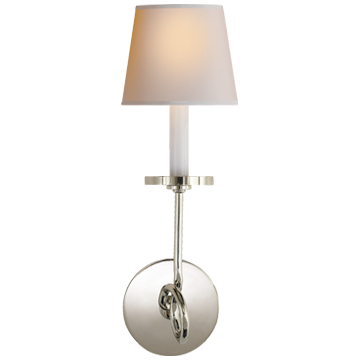 Symmetric Twist Single Sconce in Polished Nickel with Natural Paper Shade