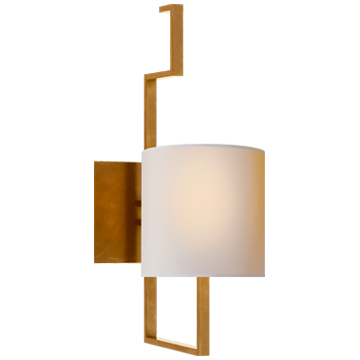 Puzzle Sconce in Hand-Rubbed Antique Brass with Natural Paper Shade
