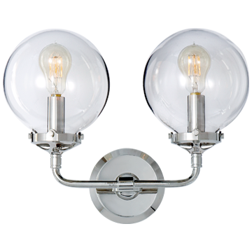 Bistro Double Light Curved Sconce in Polished Nickel with Clear Glass