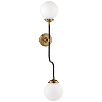 Bistro Double Wall Sconce in Hand-Rubbed Antique Brass with White Glass