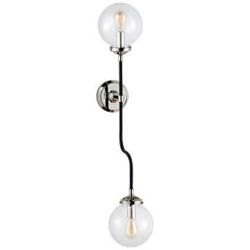 Bistro Double Wall Sconce in Polished Nickel with Clear Glass