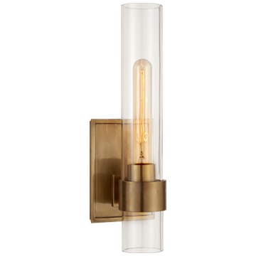 Presidio Petite Sconce in Hand-Rubbed Antique Brass with Clear Glass