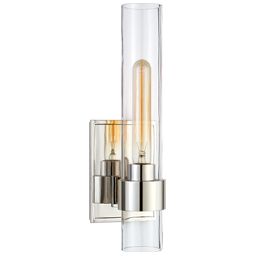 Presidio Petite Sconce in Polished Nickel with Clear Glass