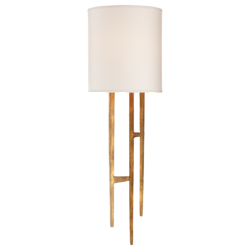 Vail Sconce in Gilded Iron with Natural Paper Shade