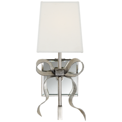 Ellery Small Gros-Grain Bow Sconce in Polished Nickel with Cream Linen Shade