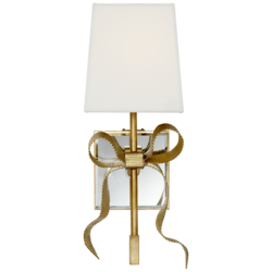 Ellery Small Gros-Grain Bow Sconce in Soft Brass with Cream Linen Shade
