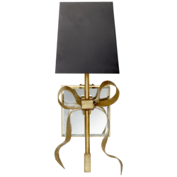 Ellery Small Gros-Grain Bow Sconce in Soft Brass with Matte Black Shade