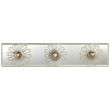 "Keaton 18"" Floral Vanity Light in Light Cream and Mirror"