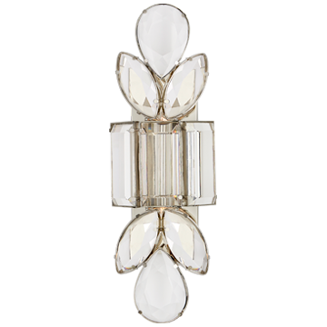 Lloyd Large Jeweled Sconce in Nickel with Clear Crystal
