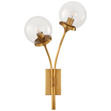 Prescott Left Sconce in Soft Brass with Clear Glass
