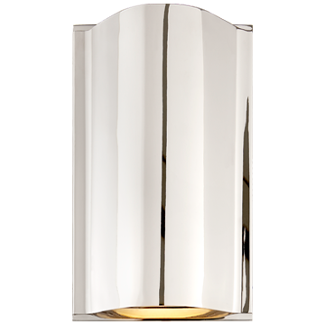 Avant Small Curve Sconce in Polished Nickel with Frosted Glass